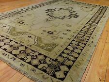 "Rare Antique Cr1900-1939s 4'4""×9'6& #034; Muted Natural Dyes Turkish Ushak Rug"