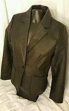 Black Leather Jacket Women's Size S Small by MASSINI ™ Excellent! Single button