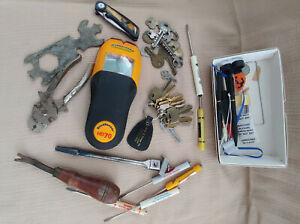 Junk Drawer Lot - Tools - Maytag Wrench, Zircon HD70 Stud Finder, Craftsman