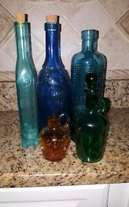 Set of 5 decorative colored glass bottles