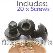 "#10-24 x 1/4"" - Qty 20 - BUTTON HEAD Socket Cap Screws - Alloy Steel Black Oxide"
