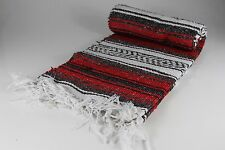 "Hand Woven Mexican Throw Blanket Red Color 73"" x 48"""