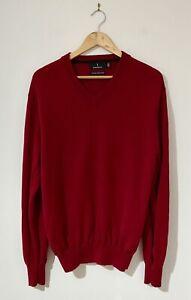 Sportscraft Men's Knit Jumper Size M Red 100% Australian Merino Wool V-Neck