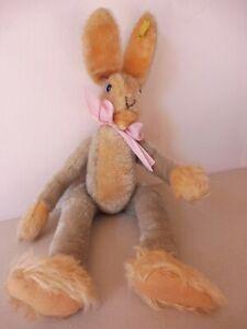 Steiff Hase, Schlenkerhase, Lulac, 43 cm, Knopf und Fahne