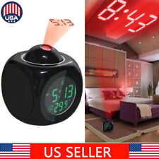Digital Alarm Clock LED Wall/Ceiling Projection LCD Voice Talking Temperature