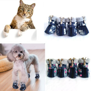 4Pc Pet Cat Dog Warm Snow Boots Puppy Small Dog Shoes Sneakers Pet Socks Supply