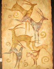 "Original Mixed Media Mono Print by Raya ""Leeping Deer"""