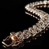 11.66 Ct Simulated Diamond Men's Cuban Link Bracelet 14k Rose Gold Plated Silver