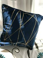 Mid Blue Unfilled Cushion Cover Velvet With Gold Foiled Detail 45cm x 45cm (1061