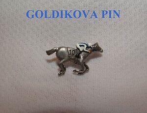 NEW GOLDIKOVA HAND PAINTED HORSE RACING JOCKEY SILKS PIN BREEDERS CUP
