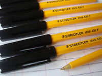 10 Staedtler Ball Point Pens Black Fine Excellent Quality