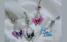 """Ring 14g 7/16"""" 316l Surgical Steel 4pc Pack Double Gem Enamel Butterfly Belly"""