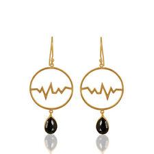 Heartbeat Designer 925 Silver Hematite Gemstone Dangle Earrings Jewelry