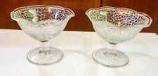 Lot 2 Vtg L.E. Smith Cracky Clear Crackle Ruffled Sherbet Ice Cream Glasses Usa