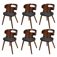 6 Dining Chairs Wooden Cut-out Bentwood Backrest Wood Kitchen Restaurant Brown