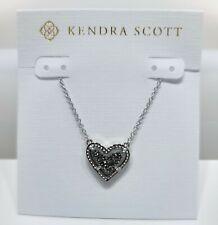 Authentic Kendra Scott 080 Rhodium Platinum DRUSY Ari Heart Necklace
