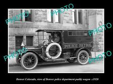 OLD LARGE HISTORIC PHOTO OF DENVER COLORADO, THE POLICE PADDY WAGON c1920