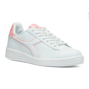 Women's Shoes Diadora Game P Wn Low White Pink Glitter Casual Laces