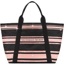 Victoria's Secret Sparkle Canvas Black Bag Tote Beach Bag Brand New With Tag