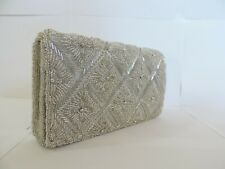 Beaded Evening Bag Clutch Purse Party Wedding Prom Silver Gold Brown Blue Women