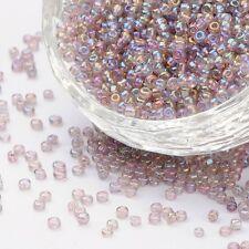 50g Farben Regenbogen Glasperlen MistyRose 2mm Rund Rocailles Perlen Diy