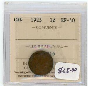1925 Canada Small One Cent - ICCS EF-40 - Cert#EN916