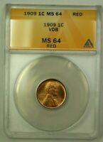 1909 VDB Lincoln Wheat Cent 1c ANACS MS-64 Red (H) (WW)