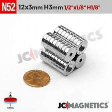 12mm X 3mm 12x18 Hole 3mm N52 Strong Countersunk Ring Rare Earth Magnet