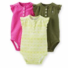 New Carter's Girls 3 Pack Pink & Olive Ruffle Sleeve Print Bodysuits Tops 3m 6m