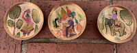 Vintage Brass Small hand painted bowls, Made In Pakistan, Set of 3
