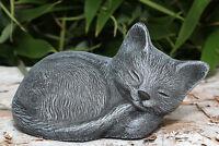 Steinfigur Katze schlafend kl. Schiefergrau Gartendeko Dekofigur Gartenfigur