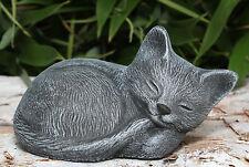 Sculpture de Pierre Chat dormant petites Gris ardoise Décoration de jardin