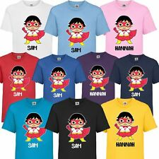 66d92f29d Kids Personalised Name Superhero Ryans World Toys Review T-Shirt Boys Girls  Gift