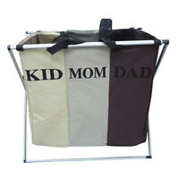 Pop-Up Laundry Basket 3 Compartment Foldable Collapsible Clothes Hamper Washing