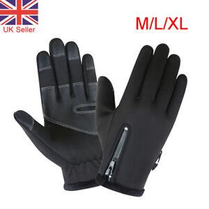 Black Mens Winter Gloves Warm Waterproof Anti-slip Thermal Touch Screen Gloves