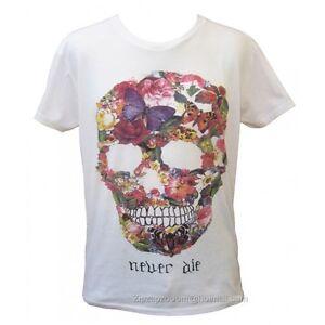 Mens Skull Flower Punk Retro Rock Gothic Vintage White Manga Never Die T-shirt