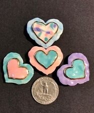 """Set of 4 Handmade Ceramic HEART Button Covers Pink Green Lilac Blue Gold 1 1/4"""""""