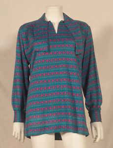 60'S FRENCH VINTAGE PRINT TUNIC WITH TIE UK 16 - FR 44