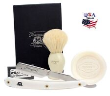 Barber`s Cut Throat straight Razor Shaving Set For Close Shave With Free Blades
