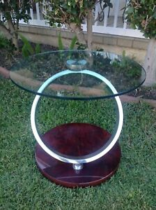 Vintage Antonini Style Stainless Steel Ring With Round Glass Table Wooden Base