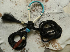 Natural Rawhide TEAL Bosal & Nylon Mecate with Hair Tassel For Bitless Hackamore