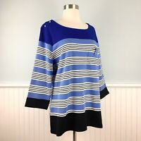 Size 1X Karen Scott Blue Black White Top Blouse Shirt Pullover Women's Plus NWT