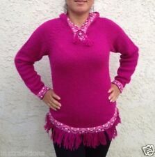 Hooded Alpaca Wool Knitted Hoodie Sweater Llamas Ethnic Design From Peru