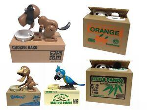 Cat Panda Dog Parrot Stealing Steal Coin Piggy Bank Money Box Kids Gift UK STOCK