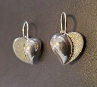 Sterling Silver 925 Drop Dangle Heart Earrings Druzy Texture 5g