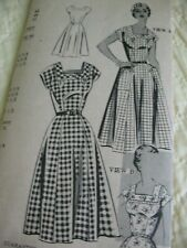 Antique Vintage Sewing Pattern 1950's Miss Pretty Square Neck Dress Mail Order