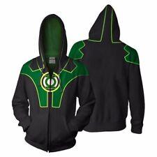 Green Lantern 2 Hoodie 3D Print Cosplay Jacket Casual Sweatshirt Full-Zip Coat