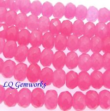 "15.5"" Strand PINK CANDY JADE 10mm Faceted Rondelle Beads"