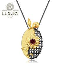 Natural Red Garnet Gems Solid 925 Silver Handmade Sun Flower Pendant Necklace