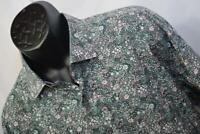 25753 Mens Tallia UOMO Designer Floral Long Sleeve Dress Shirt Size XL